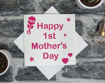 First 1st Mother's Day card, baby card, mum, mammy, card for mum, Happy 1st mother's day, first mothers day card, newborn, mom, dad