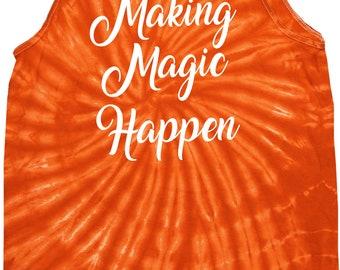 Men's Making Magic Happen White Print Tie Dye Tank Top WHITEMAGIC-3500