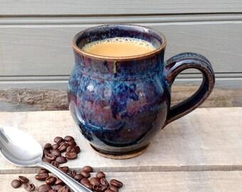 Large Blue Mug, Handmade Ceramic, Ready to Ship