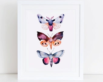 Butterflies Art Print, Butterfly Printable, Instant Download,  Printable Home Decor, Digital Art Print, Butterfly Art, Butterfly Print, Moth