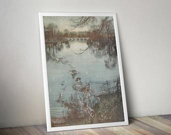 1912 - Collection of 39 Arthur Rackham Vintage Illustrations - Peter Pan in Kensington Gardens – Set 01 - Instant Digital Download