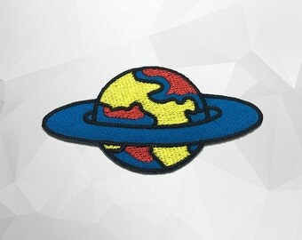 Saturn Iron on Patch (L1) - Saturn Iron on Patch / Iron on Applique - Size 7.7x4.1cm