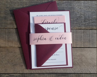 Burgundy Wedding Invitations, Burgundy and Pink Wedding Invitations, Modern Wedding Invitations, S022-Sophia