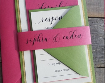 Green and Pink Wedding Invitations, Green, Pink and Gold Glitter Wedding, Modern Calligraphy Wedding Invitations, S022-Sophia
