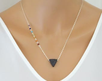 Chakra necklace with lava stone, Triangle lava rock necklace, Seven chakra jewelry, Essential Oil Diffuser Aromatherapy Necklace