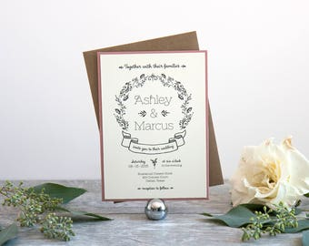 Rustic Hand Drawn Wedding Invitation, Deposit to Get Started