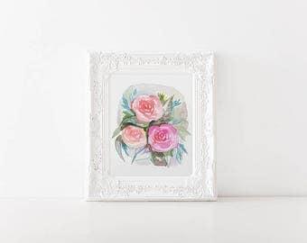 Modern Watercolor Floral - 8x10 Wall Art - Bright Color Art Print