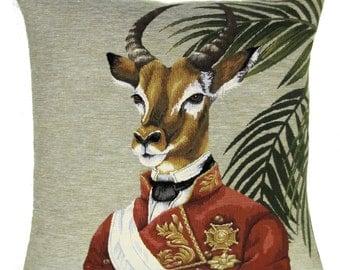 Antilope belgian  tapestry gobelin throw pillow cushion cover antilope military costume aristocrat  - PC-5637