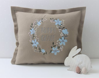 Easter Pillow Cover, Embroidered Pillow, Easter Decor, Eco-friendly Pillow, Beige Throw Pillows, Pillow Cases, Lumbar Pillow, Easter Bunny