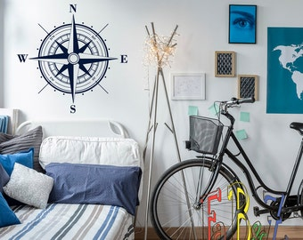 Nautical Compass Rose Wall Decal- Nautical Wall Decor North South West East- Compass Rose Wall Decals Stickers Nautical Wall Art Decor C045