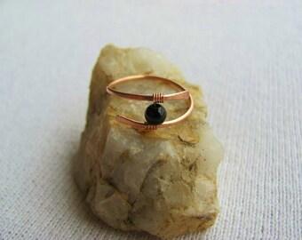Black Onyx Ring, Gemstone Ring, Copper Ring, Statement Ring, Black Onyx Gemstone, Wire Wrapped Ring, Gemstone Ring, Bohemian Ring