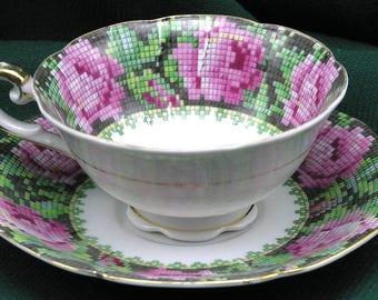 Occupied Japan Cup & Saucer Petit Point Rose Decoration - Shofu China