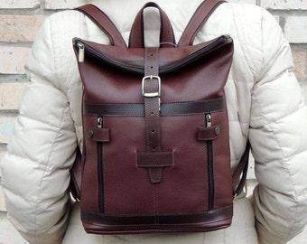 "Burgundy leather backpack ""Agnes"""