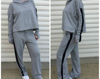 "Casual Sport Set / Women Top and Pants / Casual Activewear / Loose Cotton Sport Set / Loose Pants / Oversize Top - ""Set Me Free"""