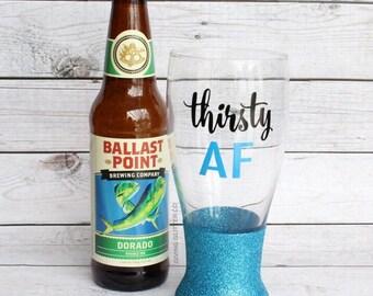 Thirsty AF // Glitter Beer Glass - Glitter Beer Mug