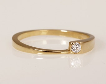 Thin One Diamond Ring, Modern One diamond Engagement Ring, Delicate Solitaire Ring, 14K Gold Engagement Ring, Diamond Ring for her, RG-1098