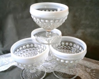 Vintage Moonstone-Clear Opalescent Hobnail Sherbets (4) by Anchor Hocking