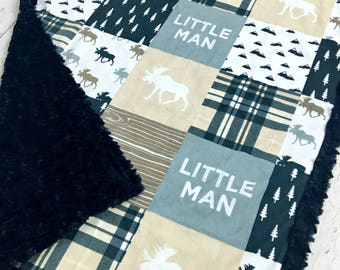 Little Man Baby Blanket - Designer Minky - Navy