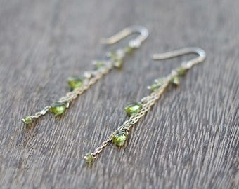 Peridot Earrings // Sterling Silver Drop Earrings // Bridal Earrings // Gemstone Earrings