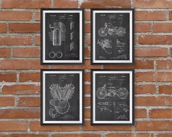 75% OFF SALE - Harley Davidson Patent Poster Set of 4 Prints, Harley Poster, Vintage Motorcycle, Motorcycle Parts, Harley Patent