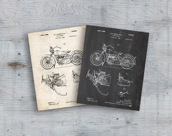 Harley Davidson Model JD Patent Poster, Motorcycle Print, Harley Davidson Poster, Motorcycle Art