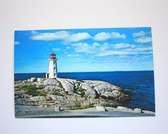 Vintage Lighthouse Postcard, Peggy's Cove Postcard / Nova Scotia Postcard / vintage lighthouse/