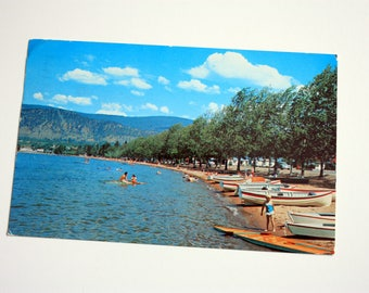 Penticton British Columbia Postcard 1962 / Penticton Postcard / Vintage Beach Postcard Okanagan Lake Postcard