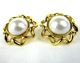 White Faux Pearl Pierced Earrings, Round Pearl Studs on Gold Tone Metal