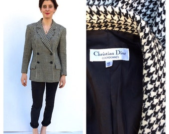 Christian Dior Paris Dogtooth 1980 s Jacket Blazer Double breasted Coat French Classic Designer Vintage
