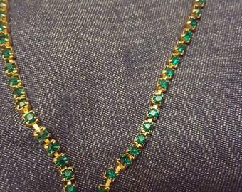 Rhinestone Vintage Necklace, Gold Leaves Necklace,