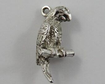 Parrot on Branch Sterling Silver Vintage Charm For Bracelet