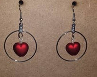 Large Silver Red Heart Earrings