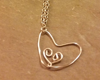 Double heart wire necklace