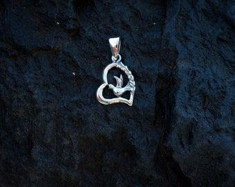 Sterling Silver Heart with Dove Pendant - #468