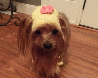 CROCHET DOG HAT, Cat Hat, Dog Hat With Flower, Small DogHat