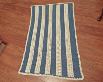 CROCHET BLANKET,61 inches by 38 inches, Crochet AFGHAN, Striped Crochet Blanket,  Crochet Throw, Blue and White Striped Throw
