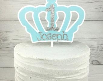 Little Prince Cake Topper, Crown Cake Topper, Light Blue And Silver Cake Topper, Royal Prince Cake Topper, 1st Birthday Prince Cake Topper