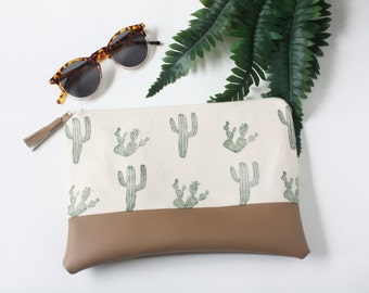 Cactus Block-Print Pleather Clutch, Succulent, Southwestern Hand Sewn Handbag, Cacti Handprinted Canvas Bag, Vegan Faux Leather Clutch