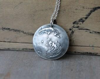 Moon fine silver pendant