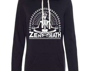 ZEN to DEATH Skeleton yoga Sweatshirt Dress, yoga zen skull Sweatshirt dress, skeleton long tunic sweatshirt, tunic sweatshirt, thumbholes