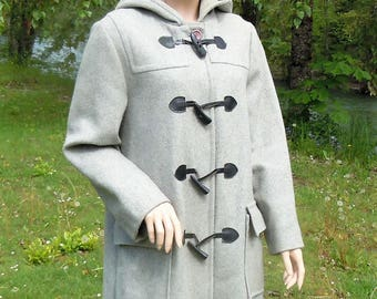 14 EATON Gray Wool Duffle Coat Canadian Made 1X Hooded Wool Duffel Coat For Nasty Bitter Cold Weather. Classic Grey Duffle Coat Size Large