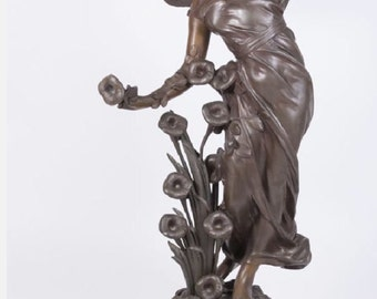 Antique Art Nouveau French Figural Patinated Bronze Winged Fairy Statue Newel Post Lamp