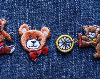 Tiny Teddy Adventure Pack / Vintage Jean Jacket Patches / Teddy Bear Lover / Sewing Patch Jeans Jacket Bag / Vintage Teddy Bear Fan Fun