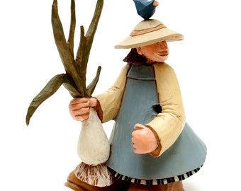 1990s -- Retired Resin Carved Figurine by Williraye Studio -- Gardener w Bluebird on Head Carrying Oversize Turnip or Green Onion