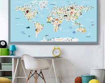 Kids World Map Etsy - World map boys room