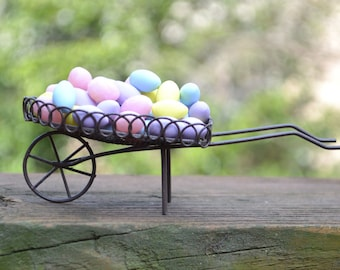 Miniature Wheelbarrow Filled with Easter Eggs for use in a Fairy Garden