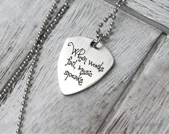 Engraved guitar pick necklace, custom initials, stainless steel gift for him, personalized guitar picks when words fail music speaks