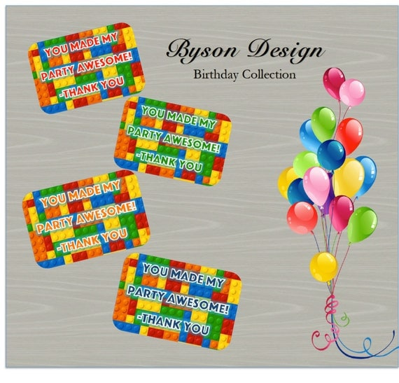 Lego Birthday Party Printable Gift Favor Tags By BysonDesign