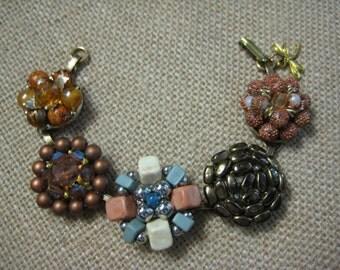 Vintage Bracelet, Repurposed Jewelry, Upcycled Recycled, Vintage Earrings, Wedding, Reclaimed, Earth tones, Autumn Fall Colors, ooak /16