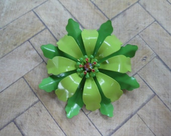 Joan Rivers Hot Tropics Blossom Pin Brooch, Signed, Lime Green, Medium Green,  Vintage Brooch, Vintage jewelry, reclaimed jewelry, gift
